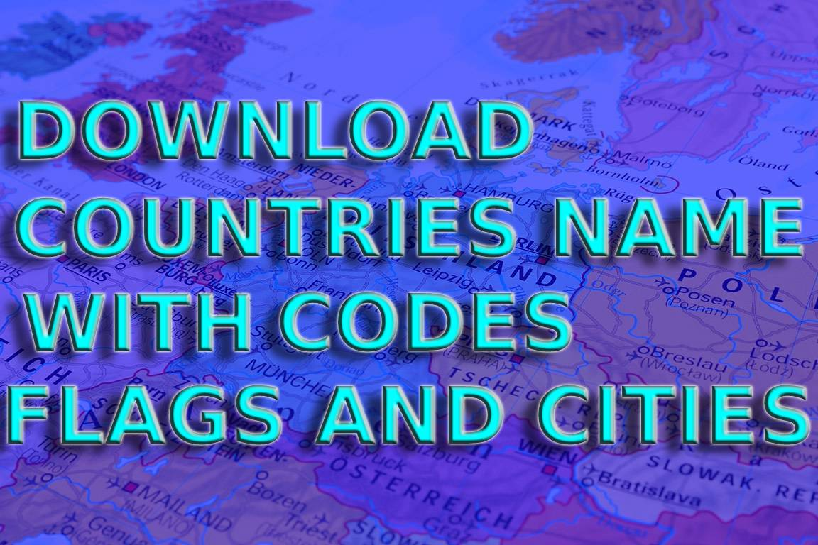 Download country names and country codes with flags